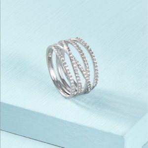 Stella & Dot Stellar Pavé Ring Silver